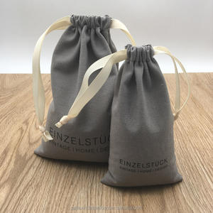 Soft Cotton Fabric Drawstring Closure Packaging Bag