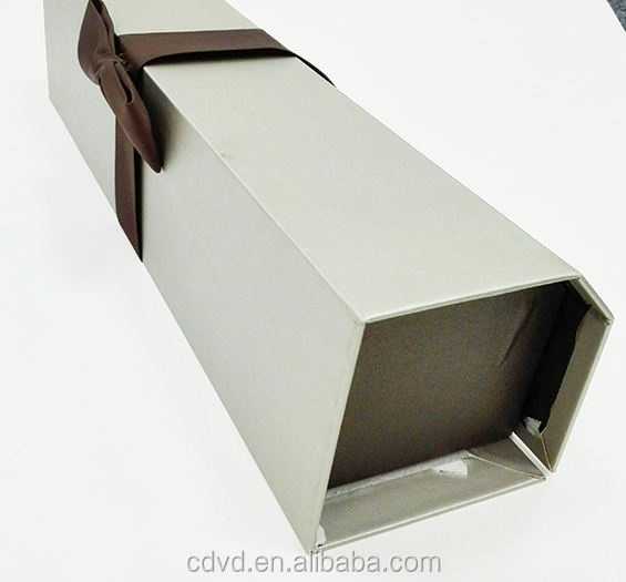 Custom Corrugated Cardboard Wine Gift Box Liquor Bottle 750ml Glass Package Box with Ribbon Bowknot