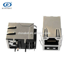 hot sale PCB 1x2 integrated rj45 straight connector with led