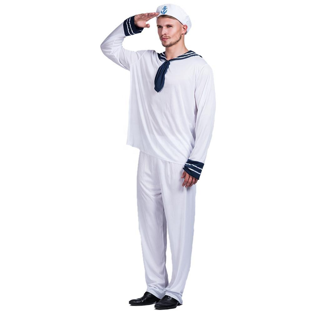 RTS Wholesale white sailor cosplay suit for Halloween carnival Adult navy uniform costumes sailor men costume