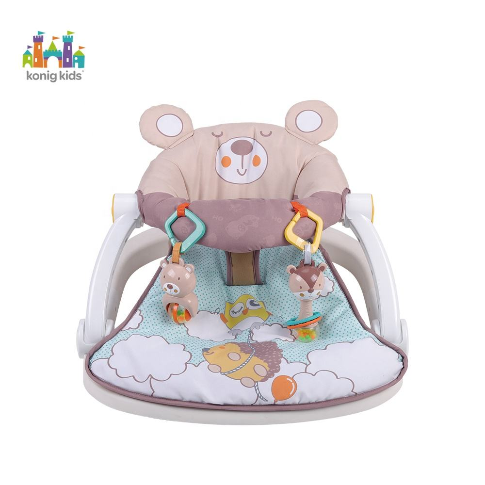 Konig Kids Indoor Cartoon Raccoon Floor Foldable Seat Bouncer Infant Baby Activity Chair
