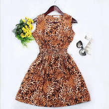 summer women sleeveless floral printed dress chiffon tea dress plus size mini dress