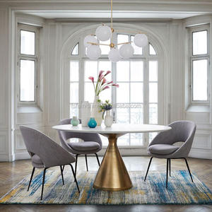 JF102 Light luxury round marble dining table modern simple small family stainless steel legs nordic style home furniture