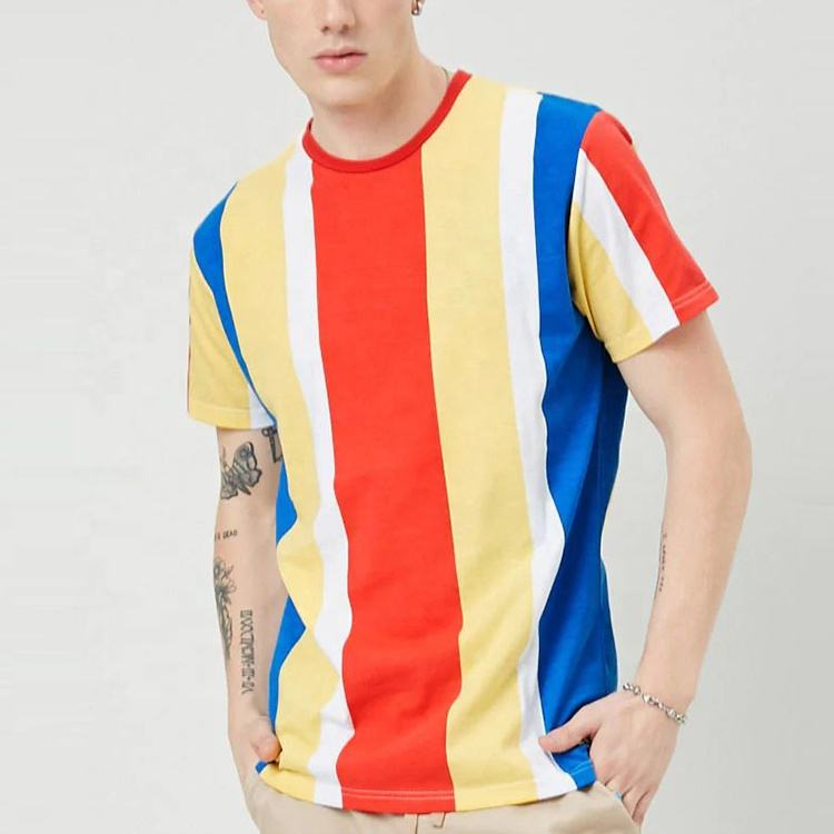 t shirt men crew neck short sleeves color block t shirts in bulk with multicolor stripes