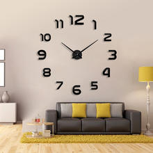 Modern design home decorative wall sticker clock 3D large DIY wall clock  sticker  price