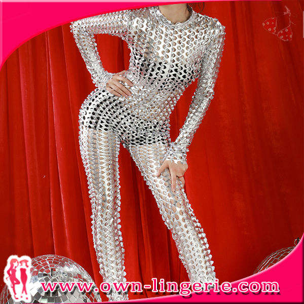 Silver manufacture bodysuit and catsuit hot sales