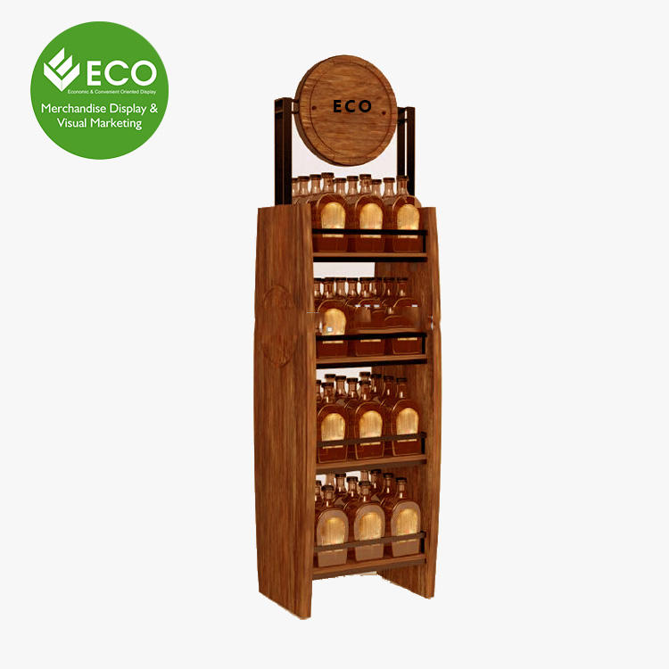 4 tiers stable wood display stand for honey bottle