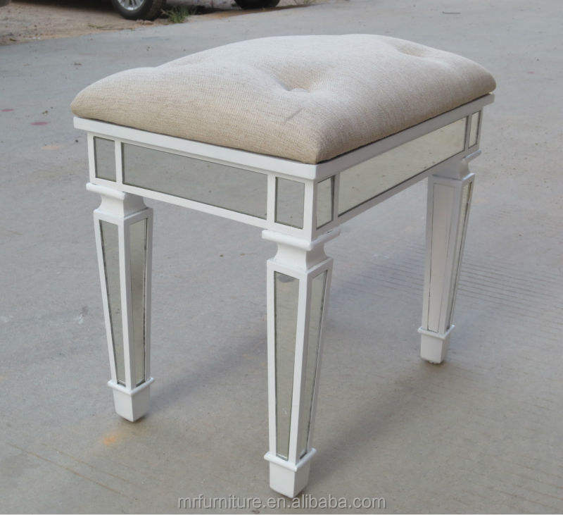 Unpholstery Button Bedroom Mirrored Stool in White Finish