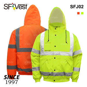 Wholesale Men Winter Padded Waterproof 100% Polyester Custom Uniform Hi-viz Yellow Reflective High Vision Security Bomber Jacket