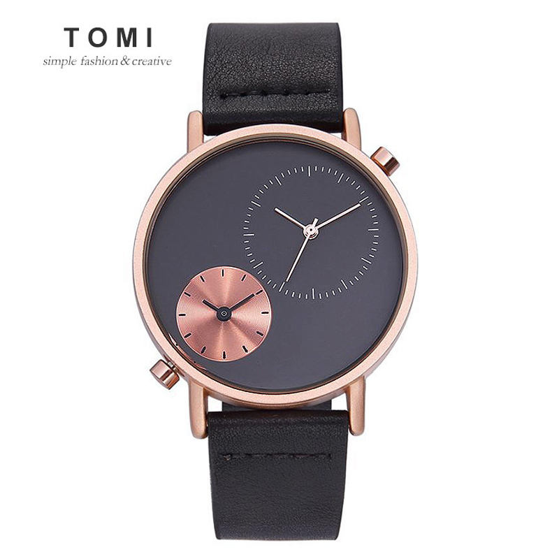 Tomi T079 Newest Simple Retro Dual Timezone Waterproof TOMI Wrist Watch