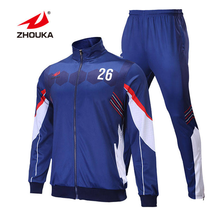 Design Your Own Sublimation Men Sweatsuit Navy Blue And White Jogging Suits Long Zipper Running Wear Custom Mens Tracksuit