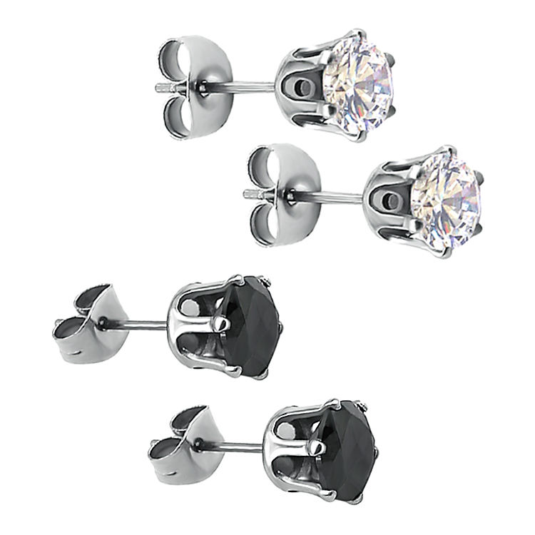 Hot sale Cubic Zirconia Earrings Round Cut Claws Setting 316L Stainless Steel Ear Piercing Studs