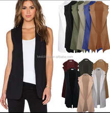 Womens Fashion Long Waistcoat Vest Sleeveless Trench Coat Cardigan Jacket Blazer