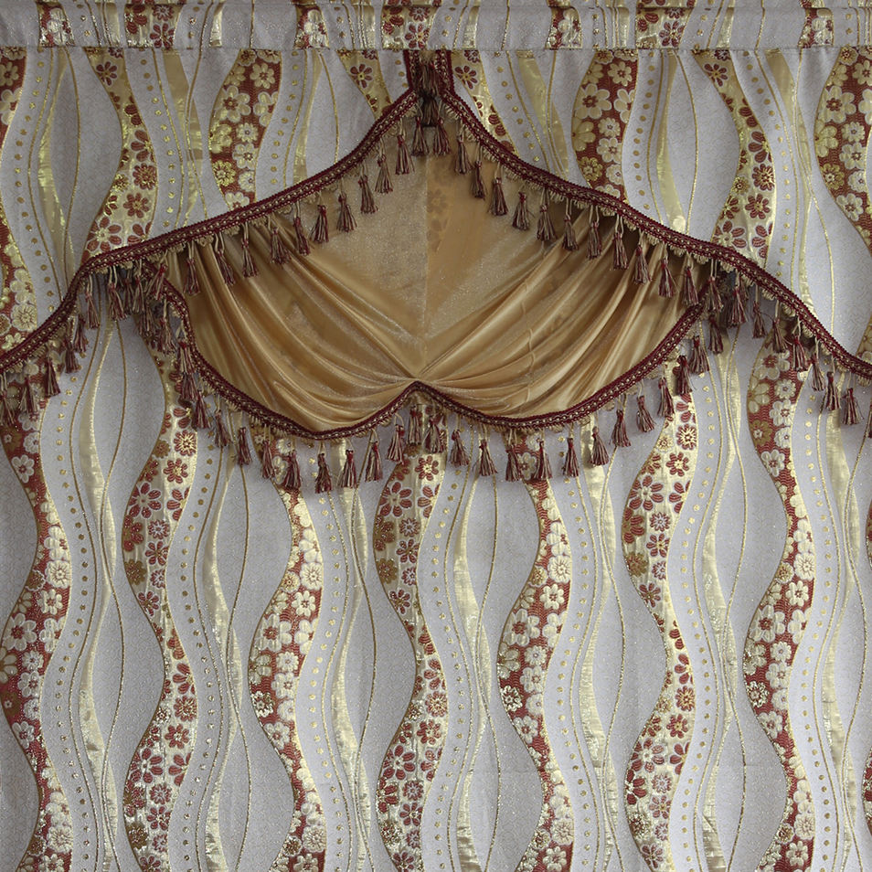 Free sample curtain design,decor living room jacquard curtain with attached valance