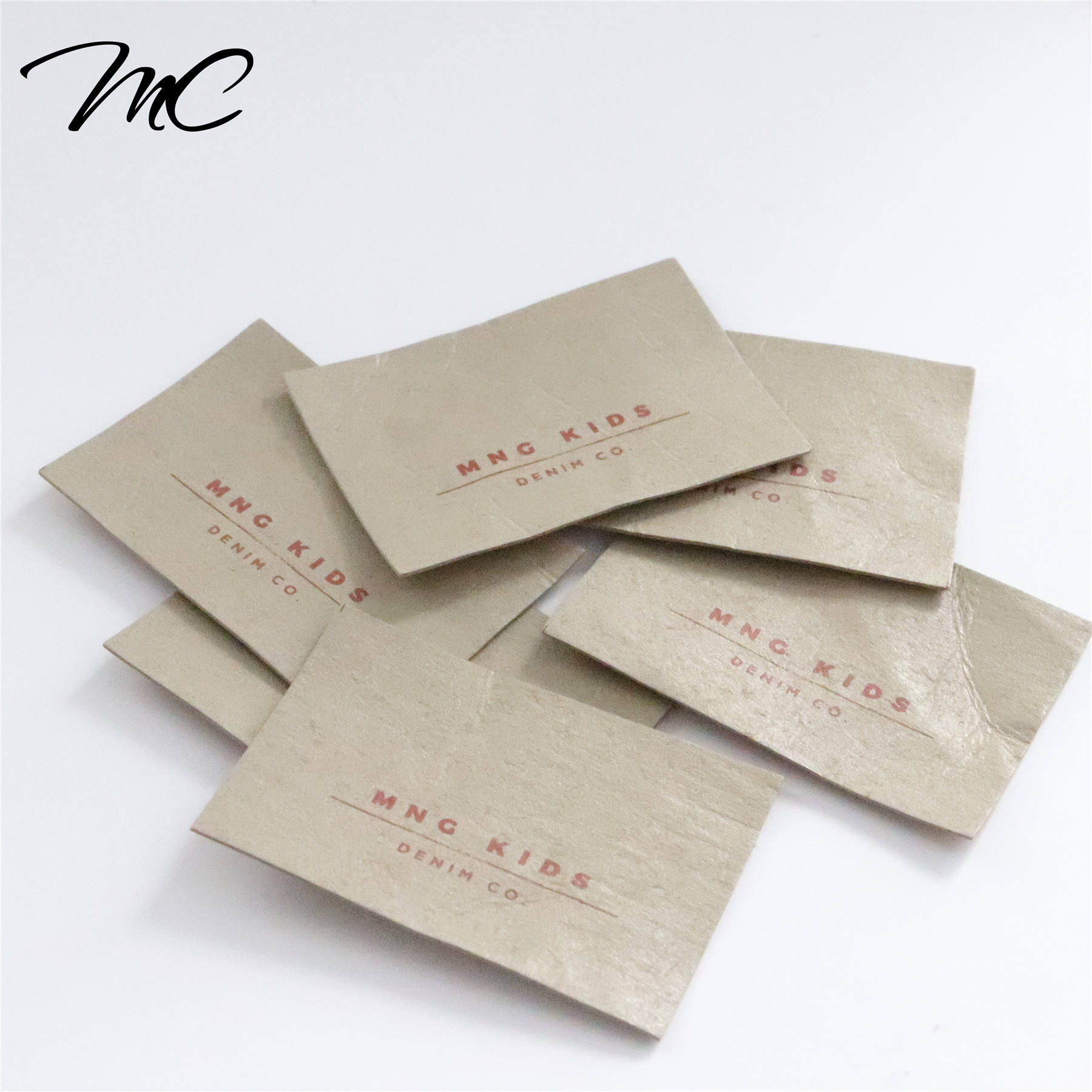 Custom hand distressed kraft paper jeans washing leather label for baby clothing/More Than 130 Leather Colors For Choose