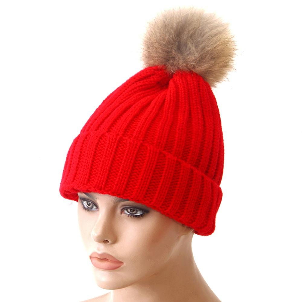 In stock small quantity cuff winter knitted faux fur pompom beanie hats