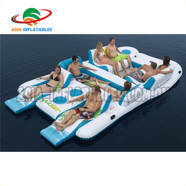8 Seats Tropical Tahiti Floating Island Inflatable Floating Islands For Ocean Park With Customized Logo