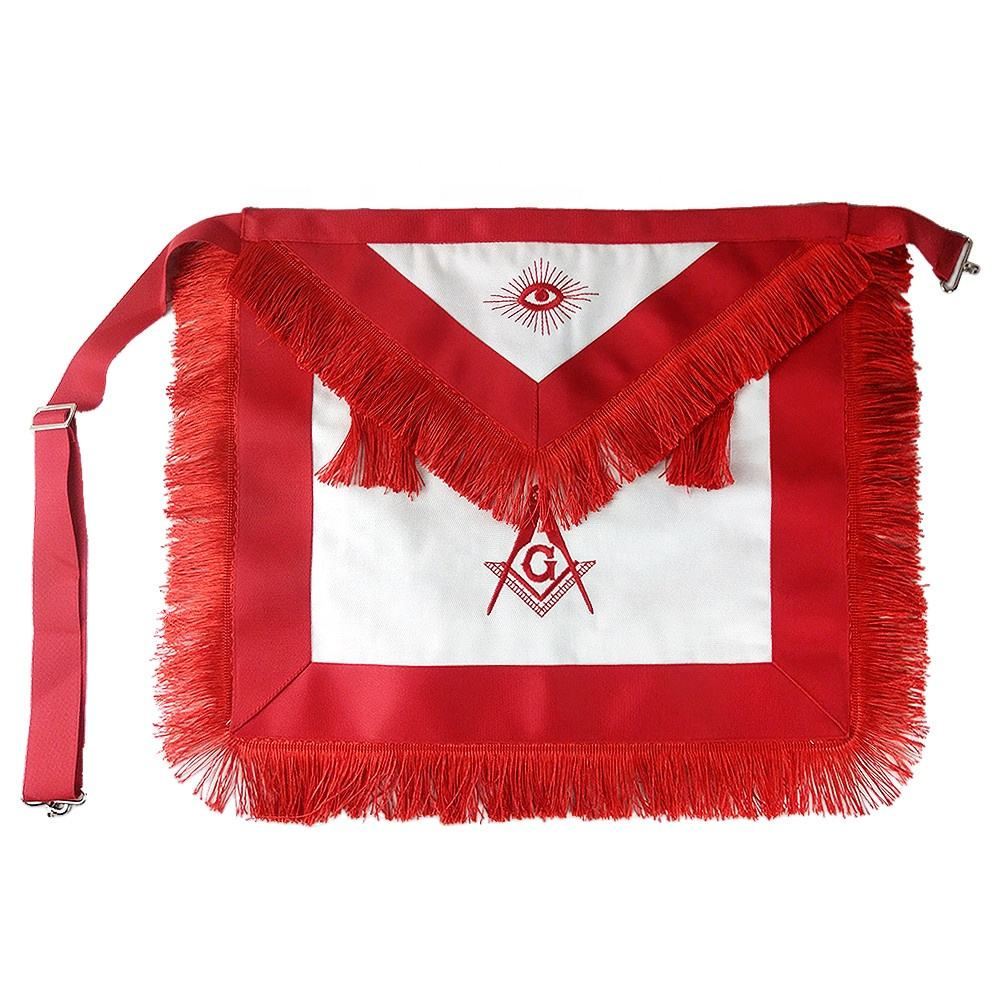 Custom Freemason Red Tassels Apron Masonic Regalia Cloth Master Mason Craft White Cotton Aprons Badges