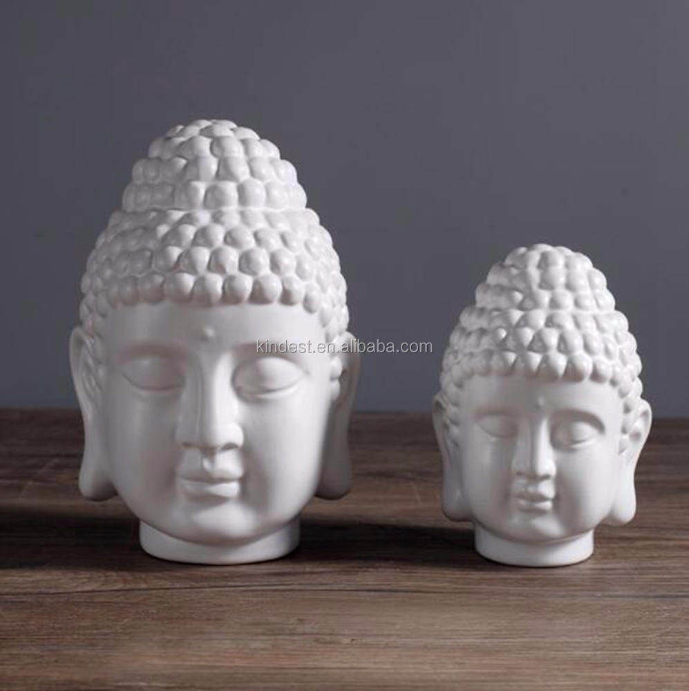 high quality ceramic white buddha head statue for home decoration