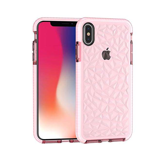 for iPhone 11 6.1 Case Shockproof, Women Girls Crystal Clear Slim Diamond Pattern Soft TPU Case for iPhone X XS 3D Diamond Case