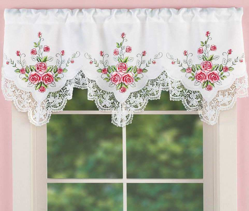 satin fabric flower embroidered table cloth and curtain with lace and cutwork