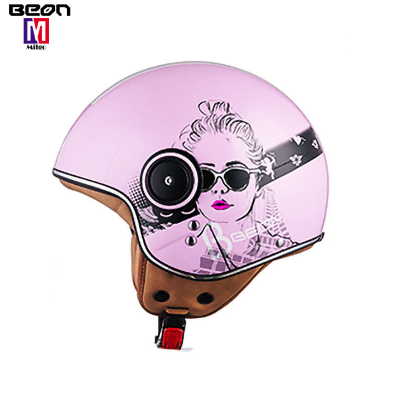 BEON B110 Bright Pink Helmet Motorcycle Half Face Electric Bicycle ECE Safe Approved Casco Moto Capacete Helmets
