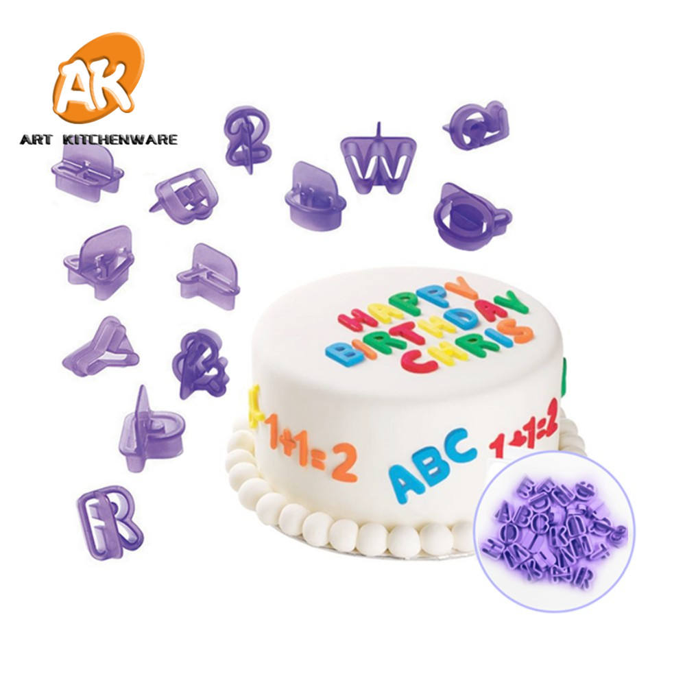 AK Fondant Tools Cake Decorating Supplies Set 40pcs of Alphabet and Number Set Cookie Cutter Fondant Cutter Set