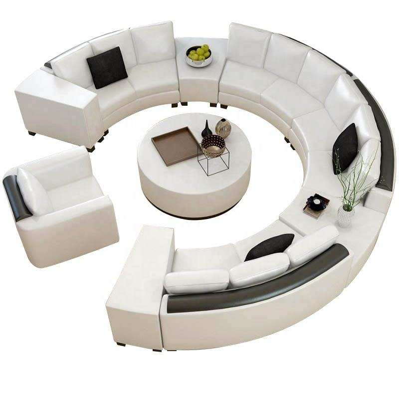 Unique design soft fabric cover round lobby sofa circle luxury sofa set hot sell round sofa set living room furniture