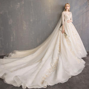 Free Shipping Long Sleeve Princess Style Floor Length Wedding Dress Taobao Simple 2019 Satin Wedding Dress with 3d Flowers