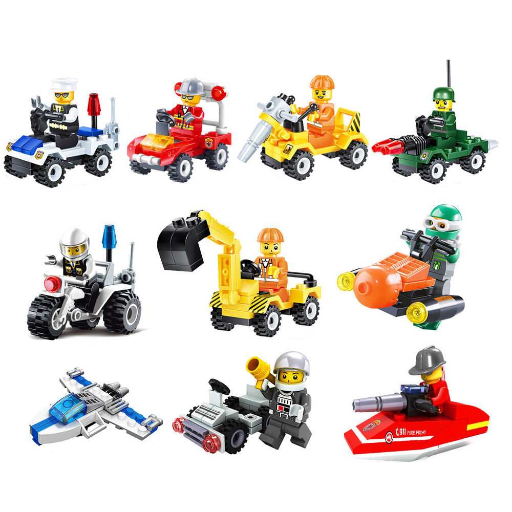 14 Types mini transport blocks car compatible Solider Police toys building bricks