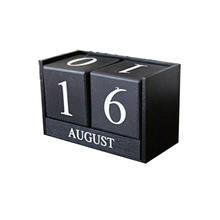 Creative Wooden Blocks Perpetual Desk Calendar Home Decoration 6.12.83.8 inch (Black)