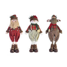 Holiday handicraft wholesale 28 inch standing  indoor plush toys decoration 3 assorted plaid christmas santa snowman moose