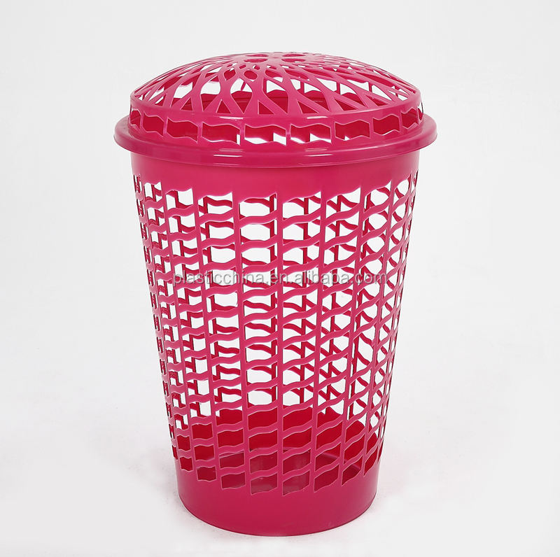 high quality plastic round cloth laundry basket with lid