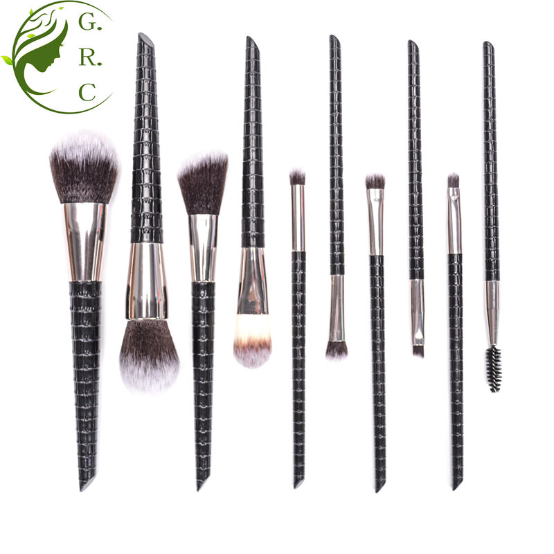 TS Professional black makeup brush set cosmetic private label plastic handle make up brush PU leather 10pcs make-up brush set