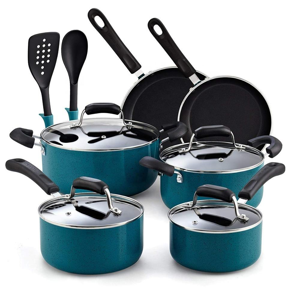 colorful 12pcs non stick cookware set with high quality kitchen tools