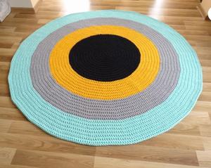 Crochet Round Nursery Flower Cotton Rug