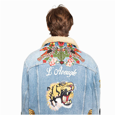 New design Embroidered denim jacket with shearling Embroidered Badges