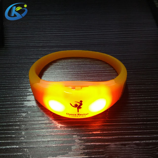 Customized Logo Sound Activated LED Glow Wristband Lighting Silicone Bracelet