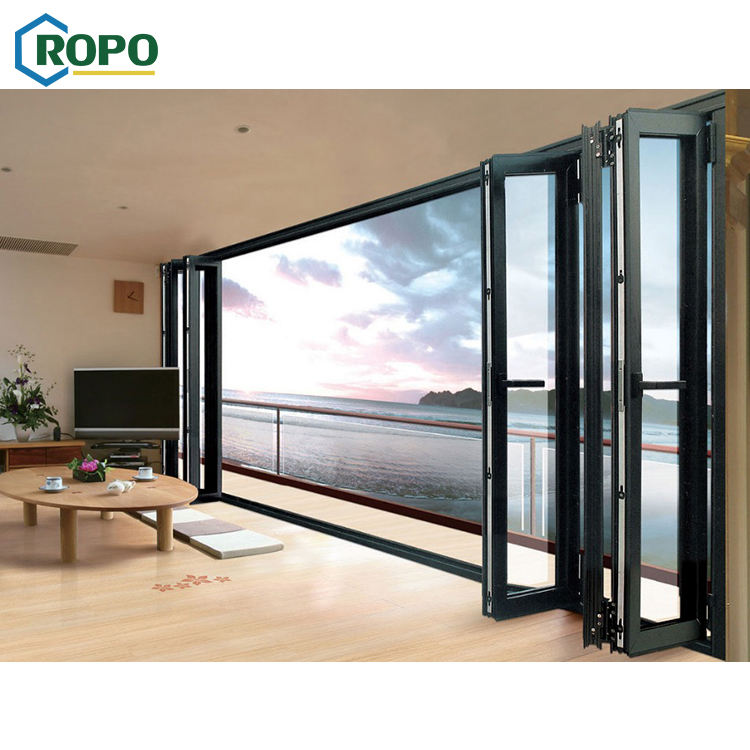 10 Year Warranty Wholesale Exterior Patio Black Folding Aluminum Frame Glass Stack Bifold Door In China