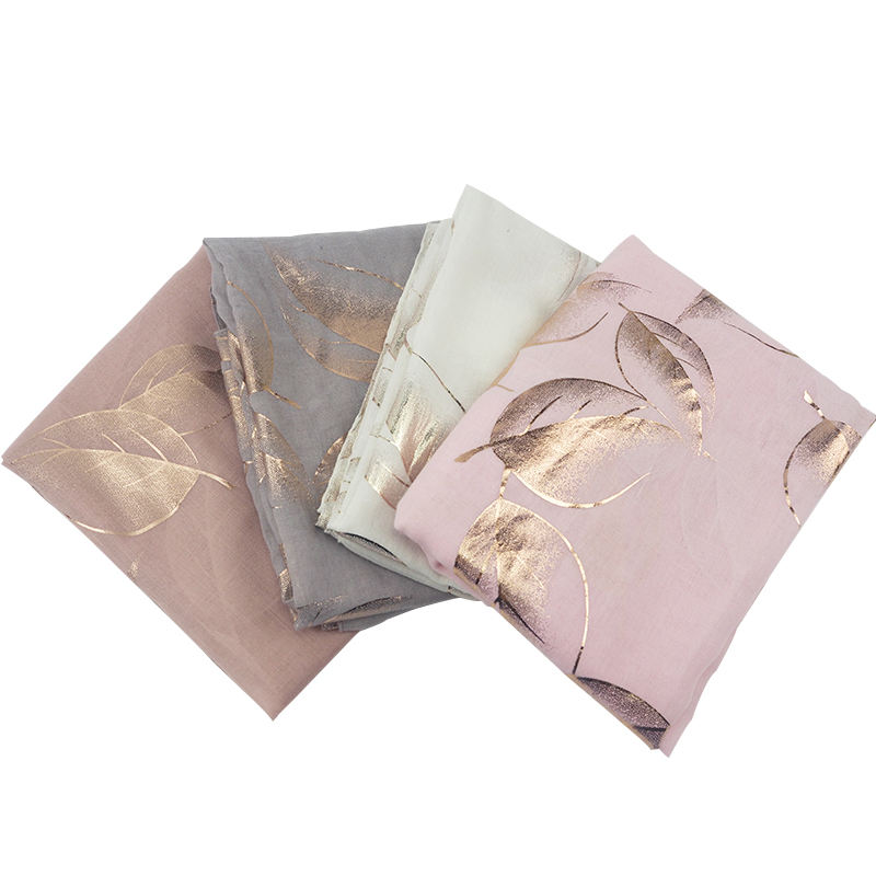 High Quality Silver Gold Rose Gold Red Foil Bronzing Long Scarf with Leaves Shape For Women and Men Scarf Hijab