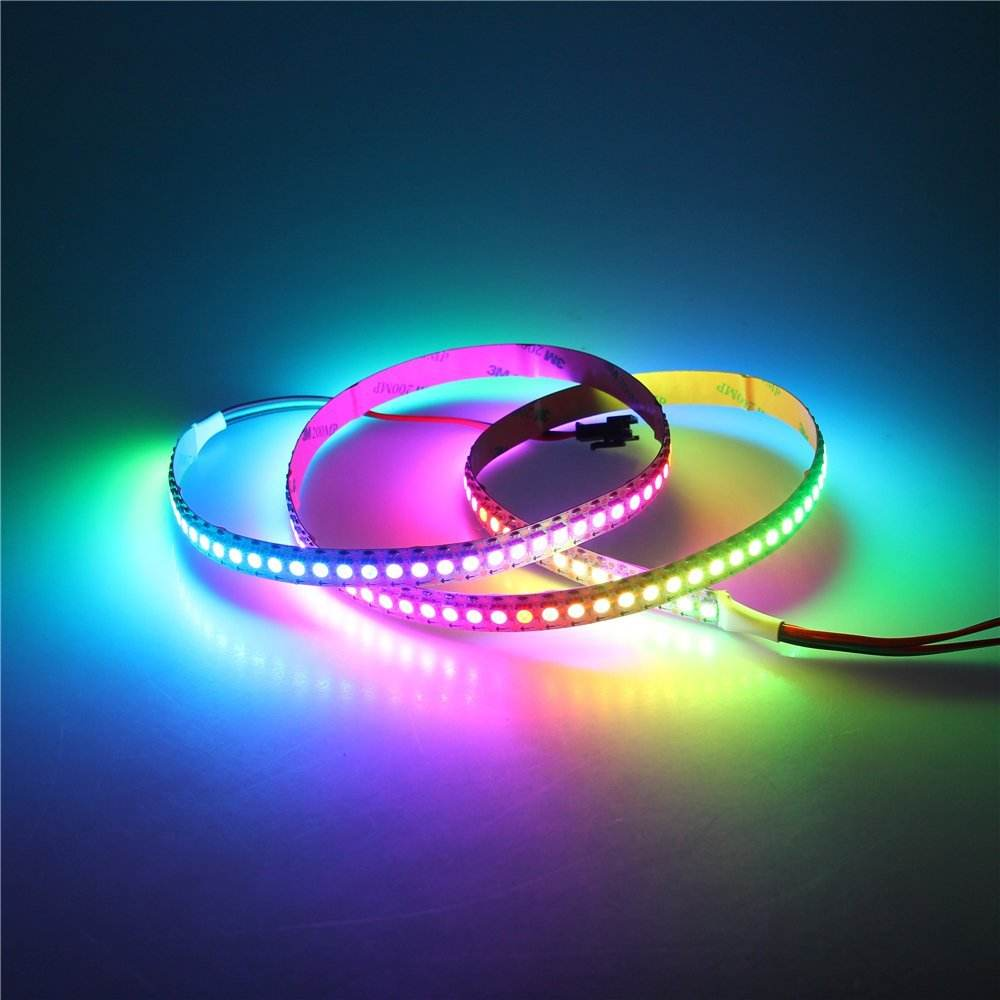 3.2ft WS2812B individualmente direccionable Digital RGB LED Strip 144 píxeles alta densidad Color ideal programable luz Pixel LED
