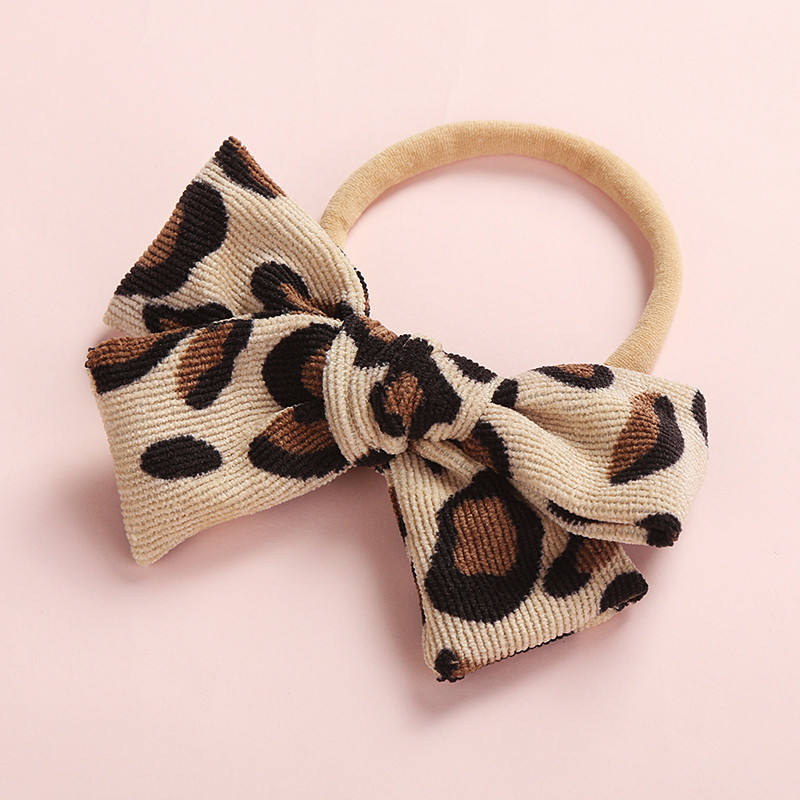 Fashion Leopard Animal Prints Bows Elastic Nylon Headbands ,One Size Fit Most Baby Knot Hairbands Headwear