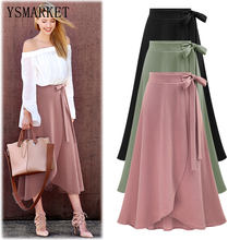 Vintage Slit Skirts Womens Long Skirt Plus Size 6XL Ladies Jupe High Waist Summer Slim Casual Asymmetric Skirt Saia