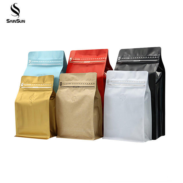 Block Bottom Frost Pe Zipper One-Way Valve Coffee Bean Packing Bag Custom With Valve