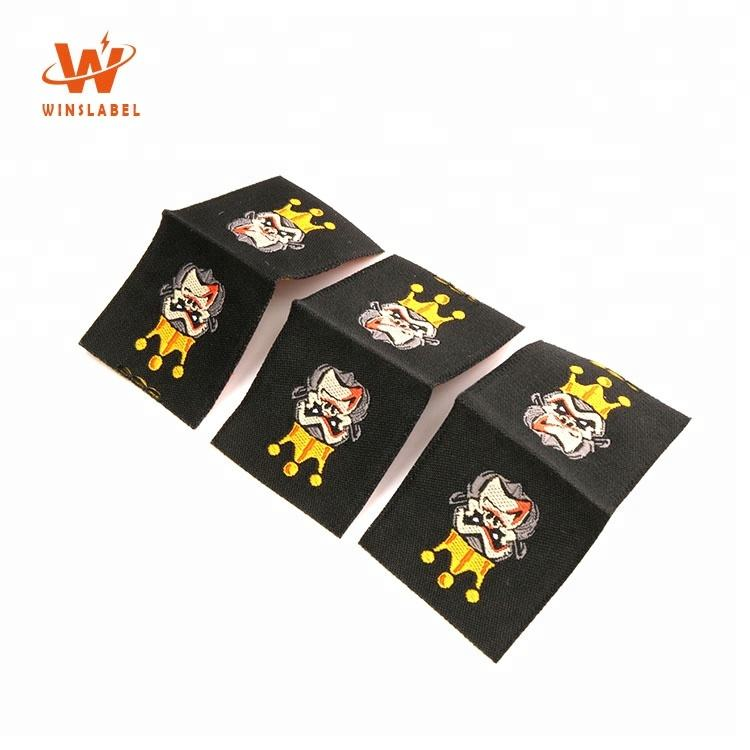 Wholesale Factory Direct Price Custom Clothing Label Makers Woven Loop Fold Neck Labels for Shirts