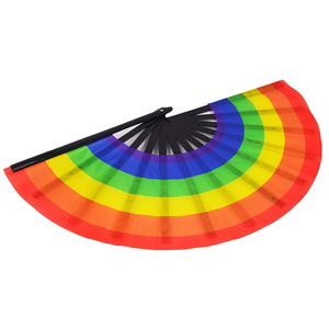 13inch Bamboo Festival Personalized Craft Rainbow Custom Print Slik Folding Hand Fan