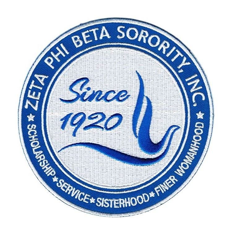 Pack of 2 - White ... Zeta Phi Beta Founded 1920 Thin Woven Label Iron-On Patch