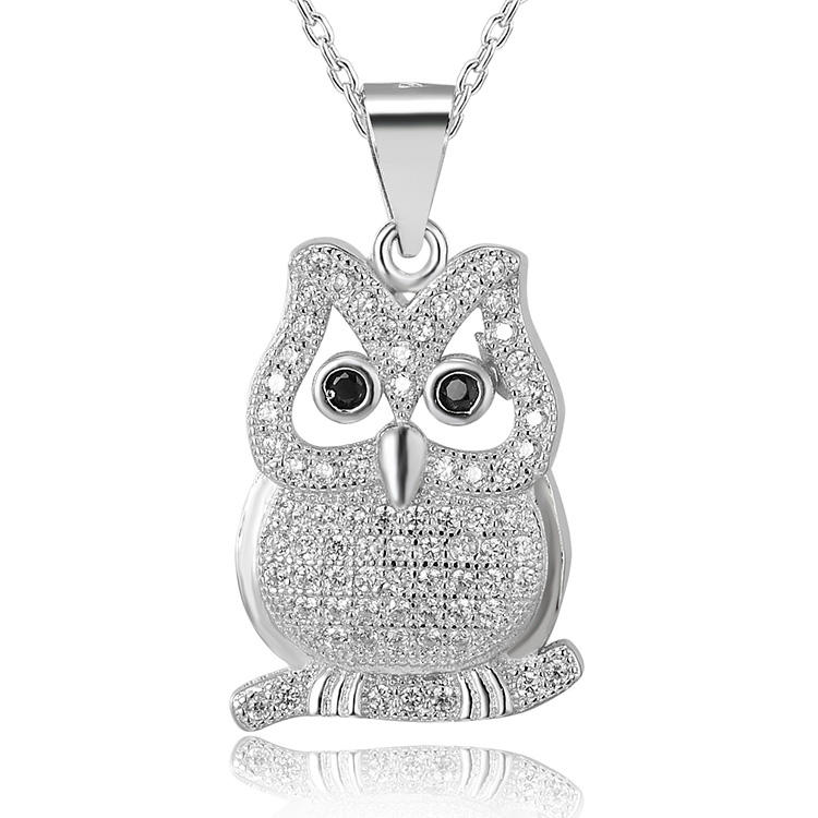 POLIVA Unique Special White Gold Plated Black Onyx Real 925 Sterling Silver Animal Owl Neck Pendants