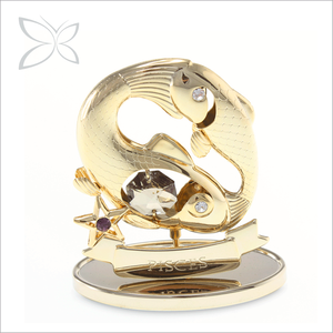 Crystocraft Wholesale Gold Plated Pisces Zodiac Signs Decorated with Crystals from Swarovski Figurine