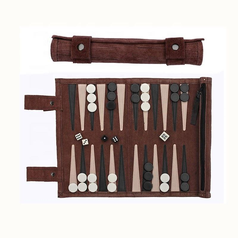 Roll-Up Suede <span class=keywords><strong>Backgammon</strong></span> Game Reizen <span class=keywords><strong>Backgammon</strong></span> Board Game Set